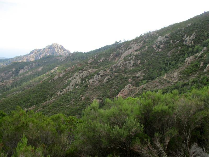 На склоне горы хорошо видна наша тропа.